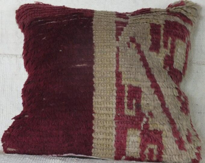 15x16 Pillow Case, Turkish Rug Pillow, Vintage Rug Pillow