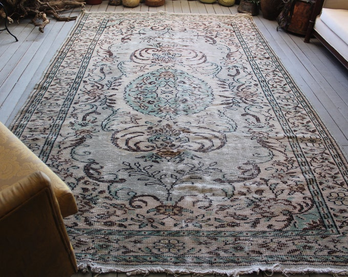 "6'4""x 10'1"" ft Vintage Large Oushak Rug, Muted Colour Low Piled Turkish Area RUG, Aqua,Beige,Brown FREE SHIPPING"