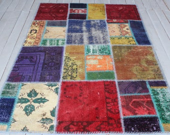 Patchwork Small Rug, Distressed Low Piled Turkish Handmade Patchwork Rug