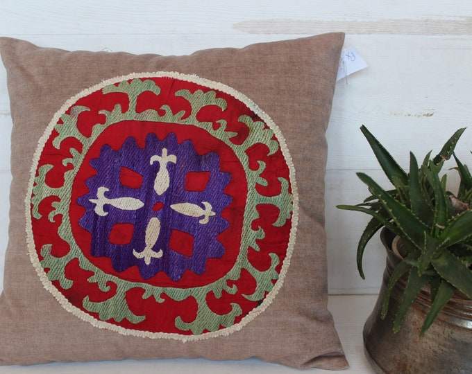 17x17 inch Velvet Suzani Pillow Case, Ethnic Bohemian Beige Velvet Red Suzani Pillow Cover