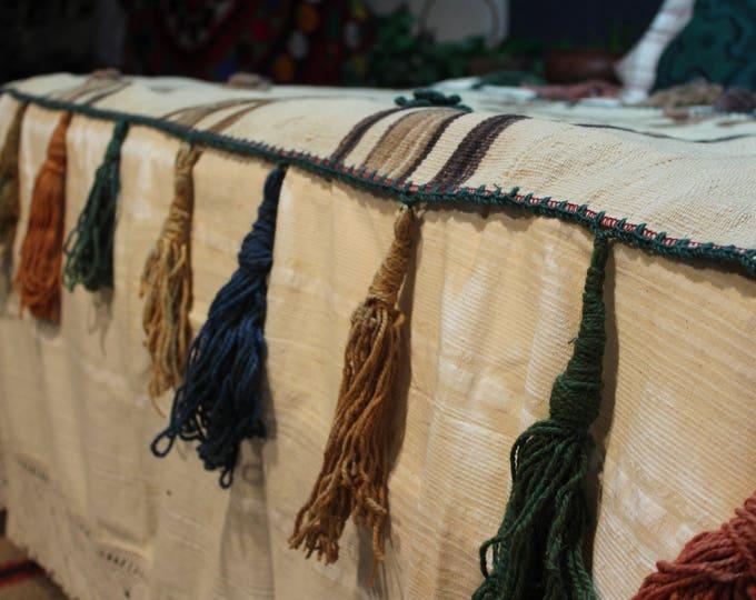 Vintage Natural Wool Throw,Tribal Bohemian Handwoven wool Ethnic Decorative Throw Blanket Brown Artisan Boho Rustic throw ,wool textile