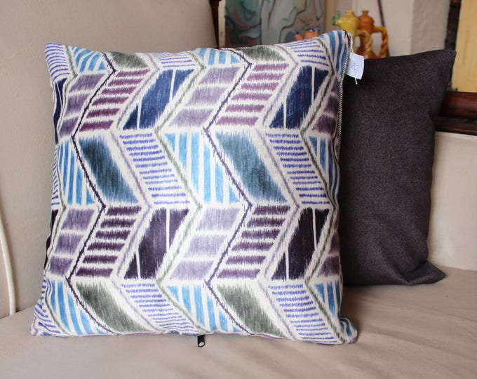 16.5 x 16.5 inch PAIR Gray and Ikat Velvet Pillow Case,Decorative Pillow Cover