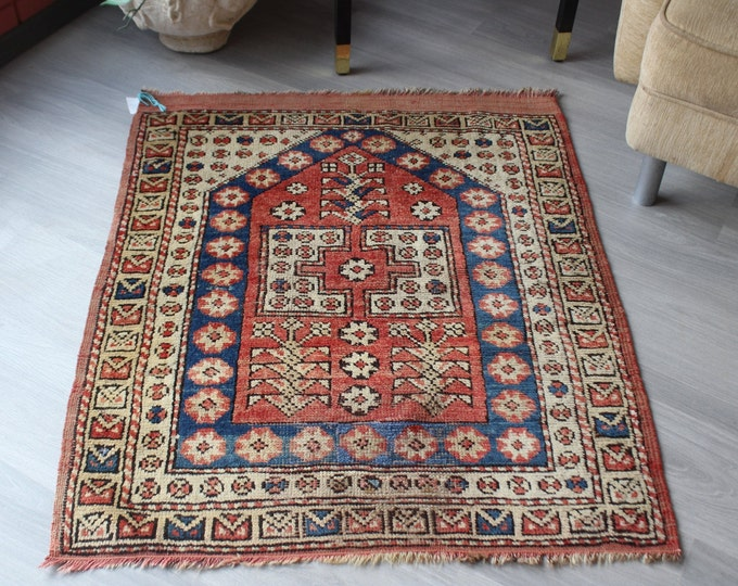 Small Vintage Rug, Vintage Canakkkale Rug,Small Ethnic Rug , Special Small Rug