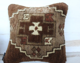 14x14 inch  Carpet Pillow Case, Vintage Carpet Brown-Beige Pillow Cover,Ethnic Wool Pillow Case, Bohemian Wool Pillow Cover