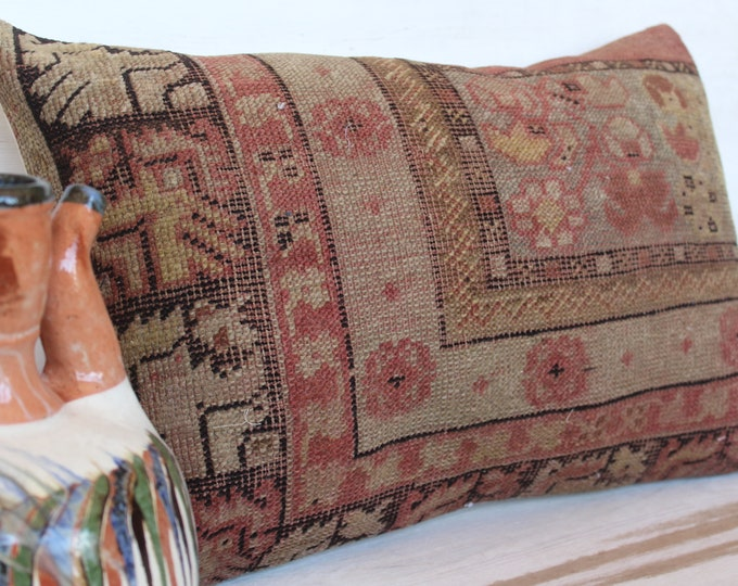 15x23 inch Vintage Carpet Pillow Cover, Ethnic Rug Pillow, Bohemian Carpet Pillow, Decorative Rug Pillow