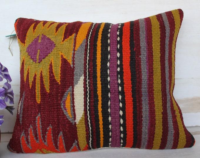 15x17 inch Vintage KILIM Pillow Case, Ethnic Kilim Pillow Cover, Kilim Pillow Cover, Bohemian Pillow Case, Turkish Kilim Pillow Cover
