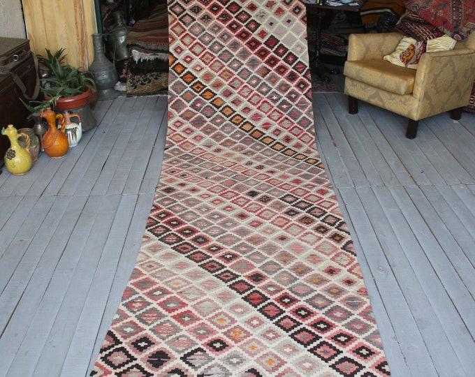 "3'2""x14'7"" feet Vintage Handwoven Long Wool Kilim Rug Runner,Bohemian Ethnic Kilim Runner"