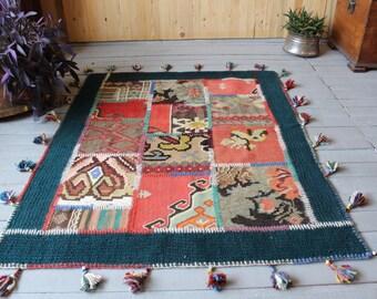 """3'7""""x4'7"""" ft  Green Patchwork kilim, Ethnic Bohemian Patchwork Kilim Rug, Handmade Floral Patchwork Kilim, Patchwork Karabagh Kilim"""