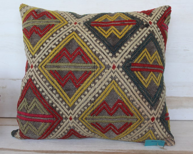 19x19 inch  Kilim Pillow Cover, Ethnic Kilim Pillow Case, Vintage Pillow Cover, Decorative Kilim Pillow, Bohemian Embroidered Pillow