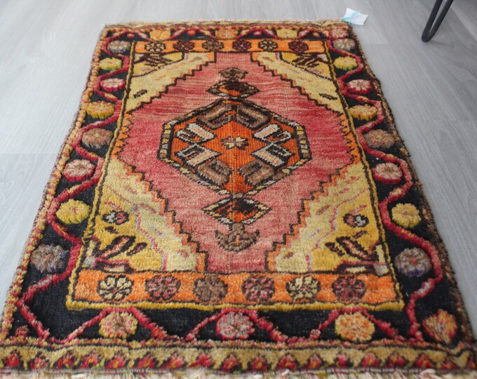 "Ethnic Small Rug, Small Vintage Rug, Small Anatolian Rug, Small Turkish Rug, Vintage Small  Rug / B-1218 /  1'8""x3' ft"