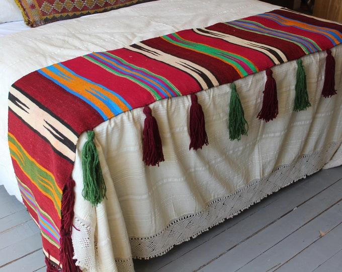 20x98 inch Aztec Throw, Ethnic  Kilim Throw, Bohemian Kilim Throw