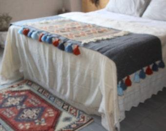 26x79 inch Ethnic KILIM Throw, Blue Kilim Throw, Bohemian Throw, Vintage Kilim Throw, Decorative KILIM Throw, Blue Throw, Wool Throw