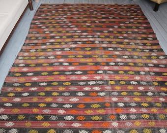 "5'8""x7'9"" Vintage Area Kilim Rug,Ethnic Bohemian Handwoven Wool Kilim Rug,Striped Handmade Kilim"
