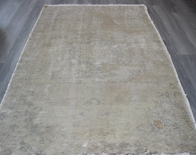Distressed Oushak Rug, Beige Area Rug, Low Piled Turkish Rug, Vintage Beige Rug
