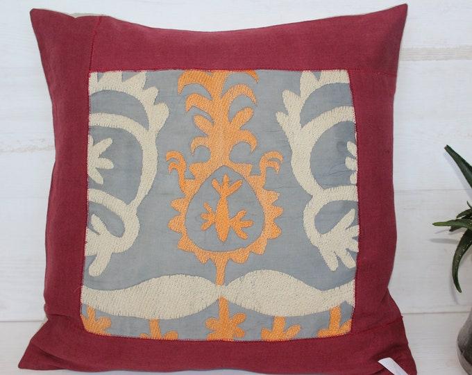 19x19 Handmade Suzani Pillow Case, Ethnic Bohemian Gray Linen Pillow Cover