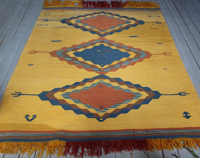 "4'4""x 6'7"" Vintage Yellow Kilim Rug, Bohemian Ethnic Handwoven High Quality Wool Kilim Rug"