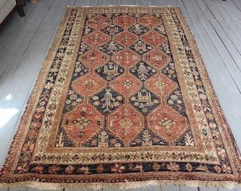 "4""3""x7'0"" Vintage  Soumak Wool Kilim Rug, Ethnic Bohemian Handwoven Kilim Rug"