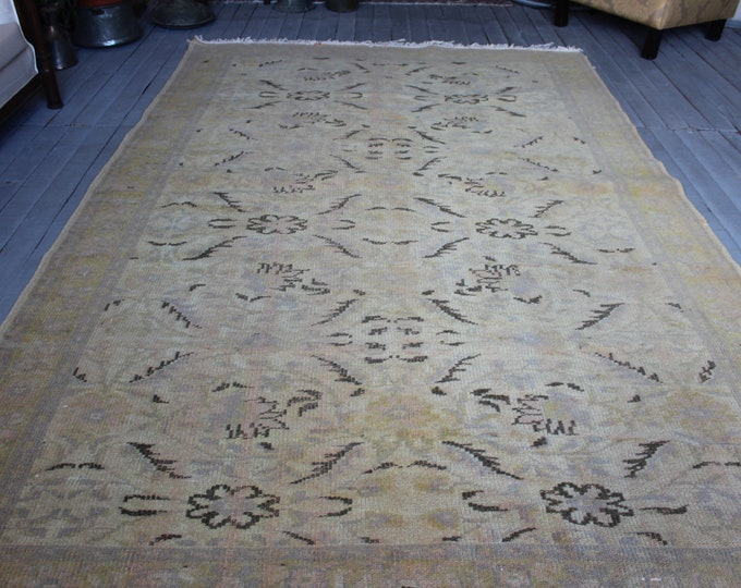 "6'1""x9'3"" ft Vintage Large Oushak Handwoven Wool Rug,Turkish Beige Large Area Rug FREE Shipping"