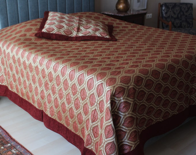 Ottoman  Bed Cover,  Chenille Bed Cover, High-quality Chenille Blanket, Ottoman Design Blanket , Burgundy- Gold Colour Bed Cover