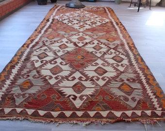 """4'9""""x12' ft  Vintage Kilim Rug, Wide Kilim Runner, Vintage Turkish Kilim, Vintage Anatolian Rug, Large Area Kilim"""
