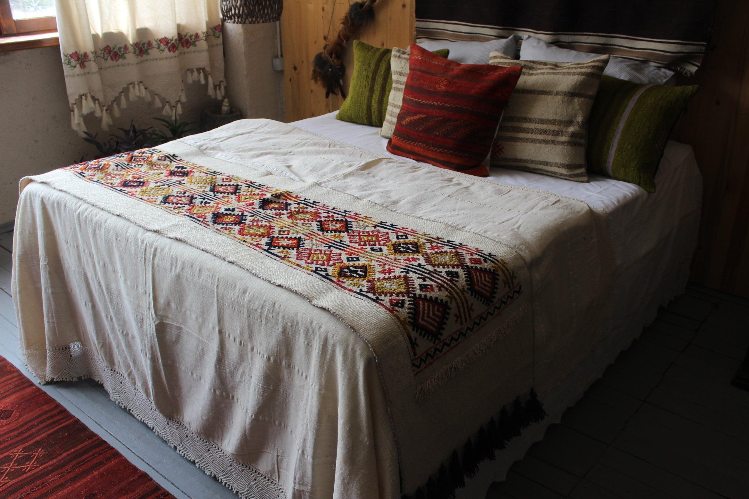 22 x 88 pouces jeter de Kilim Vintage, Bohème, ethnique, fait à la main, laine Kilim jeter