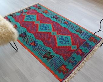 """3'7""""x5'8"""" ft  Vintage Kilim,Vintage Anatolian Kilim Rug, Turkish Coloured Kilim, Vintage Wool Kilim, Ethnic Kilim Rug, Bohemian Kilim"""