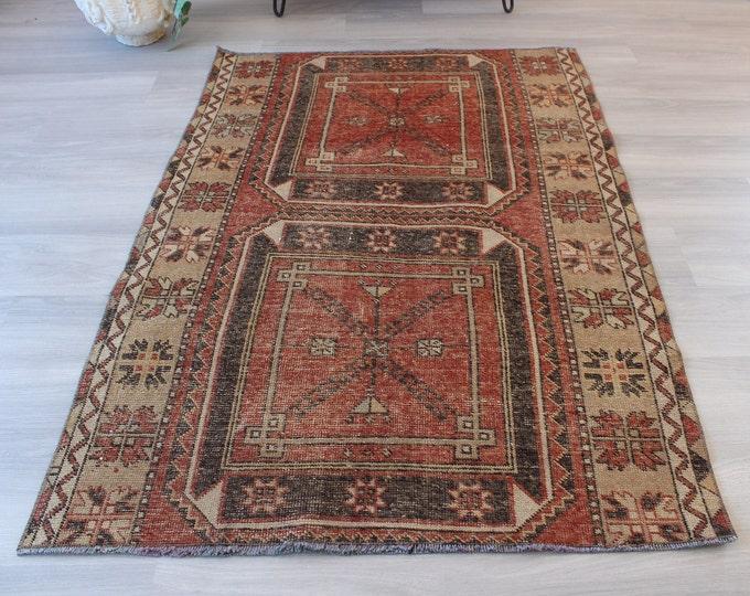 "Vintage Rug, Small Turkish Rug, Vintage Van Rug, Ethnic Rug, Handwoven Rug, Vintage Turkish rug  / 3'8""x5'5"" feet / B-1238"