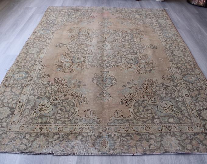 """6'4""""x8'8"""" ft Vintage Oushak Rug, Large Area Rug, Vintage Turkish Rug, Handwoven Wool Rug, Large Beige Rug, Large Vintage Rug"""