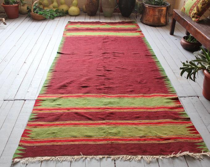 Bohemian Plain Handwoven Wool Kilim Rug