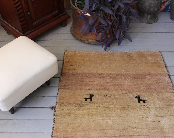 Piled Mocca Colour Rug, Primitive Designed Handwoven Wool Carpet, Nomadic Tribal Ethnic Rug