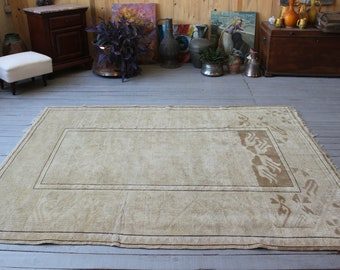 "5'4""x6'8"" Vintage Anatolian Beige Rug, Bohemian Distressed Beige Oushak  Carpet, Ethnic Nomadic Tribal Handwoven Rug"