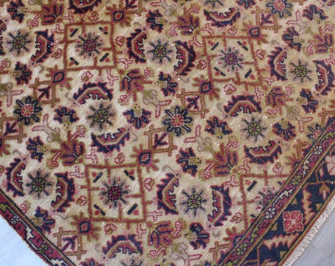 """5'3""""x8'5"""" feet  Vintage Floral Rug , Vintage Oushak  Rug, ethnic rug, low piled anatolian rug, vintage beige rug, handwoven rug / B-1245"""