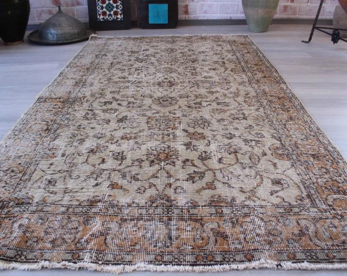 "3'8""x6'7"" ft   Vintage Oushak Rug, Vintage Turkish Rug, Low Piled Anatolian Rug, Handwoven Wool Rug"