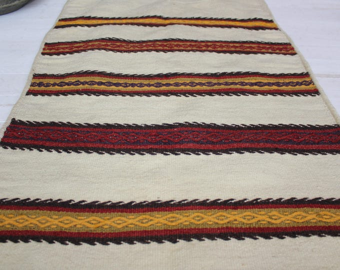 "2'1""x 3'8"" KILIM SACK ,Ethnic Bohemian Vintage Turkish Kilim Sack,Handwoven Wool Kilim Floor Pillow"