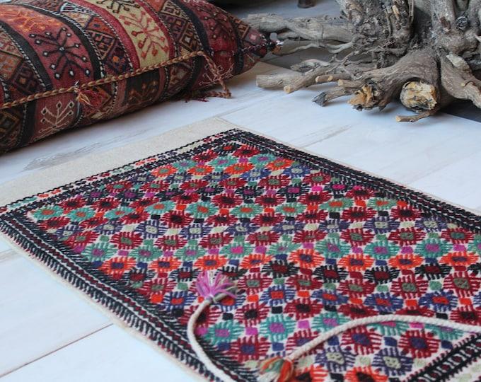 "2'0""x3'5"" ft Vintage Nomadic Kilim Sack, Ethnic Tribal Handwoven Wool Kilim Storage Bag, Bohemian Wool Floor Pillow -Pouf"
