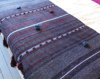 Bohemian Style Handwoven Wool Throw,Ethnic and Tribal Decorative Throw