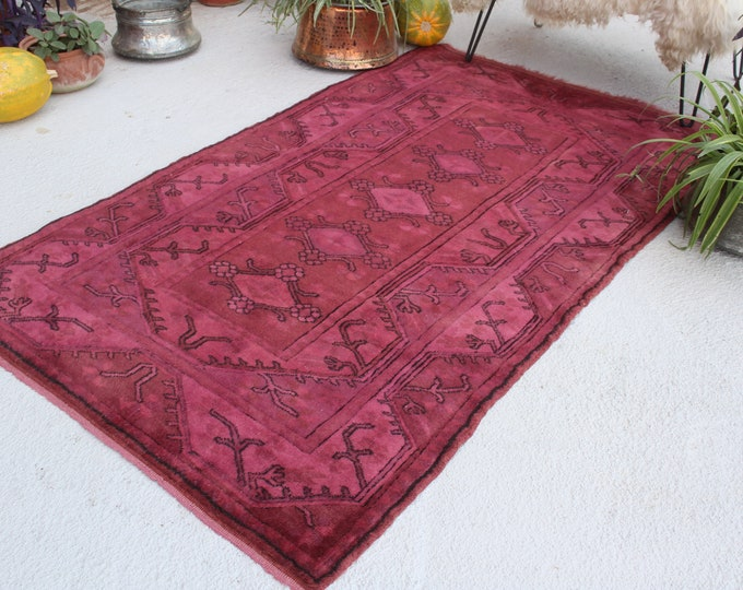 "3'9""x6'5"" ft  Vintage Over Dyed Rug, Vintage Milas Rug, Dark Pink Rug, Anatolian Area Rug, Decorative Turkish Rug, Pink Ethnic Rug"