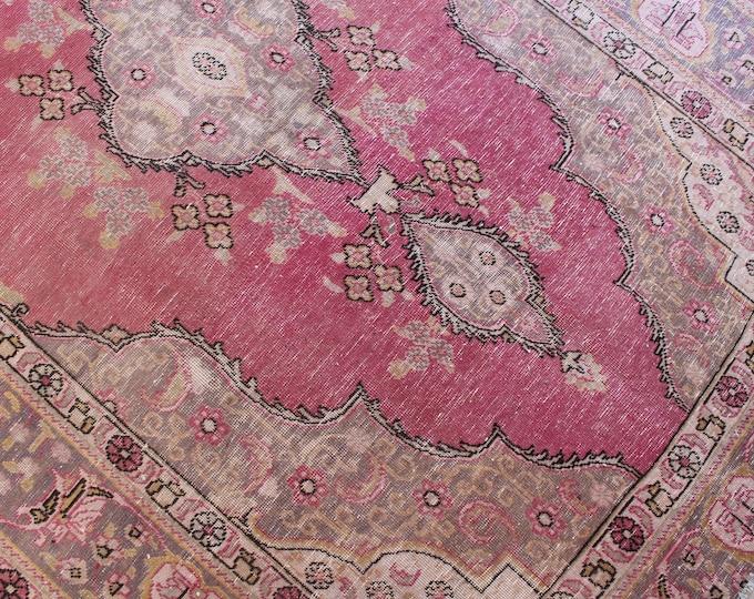 "Vintage Pink Rug, Large Area Rug, Vintage Oushak Rug, Large Pink Rug, Vintage Turkish Rug, Low Piled Rug / B-1250 /  6'4""x8'9""  feet"