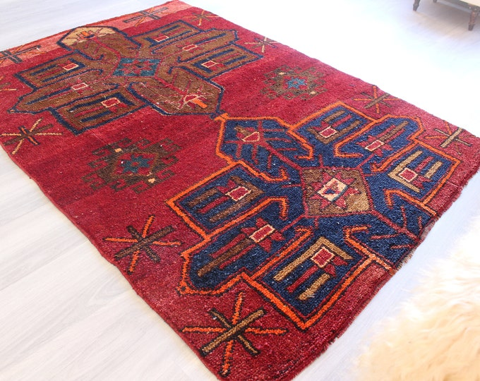 "4'2""x6' feet ,   Vintage Rug, Vintage Van Rug, Piled  Turkish Rug , Handwoven Ethnic Rug / B-1256"