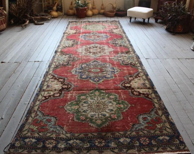"4'0""x12'2"" ft Vintage Red Medallion Rug Runner, Distressed Low Piled Red-Blue Hallway Carpet"