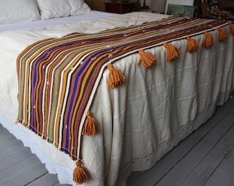 21x90 inch Ethnic Kilim Throw, Striped Kilim Throw, Bohemian Kilim Throw, Vintage Kilim Throw