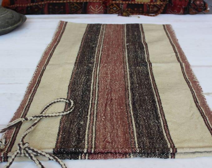 "1'8""x3'2"" Vintage Ethnic Nomadic Handwoven Wool Kilim Sack,Kilim Storage Bag,Kilim Floor Pillow"