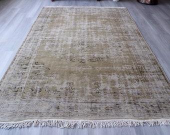 "6'1""x9'4"" ft  Vintage Oushak Rug, Pale Coloured Turkish Rug, Large Area Rug, Vintage Area Rug, Handwoven Wool Rug, Vintage Anatolian Rug"