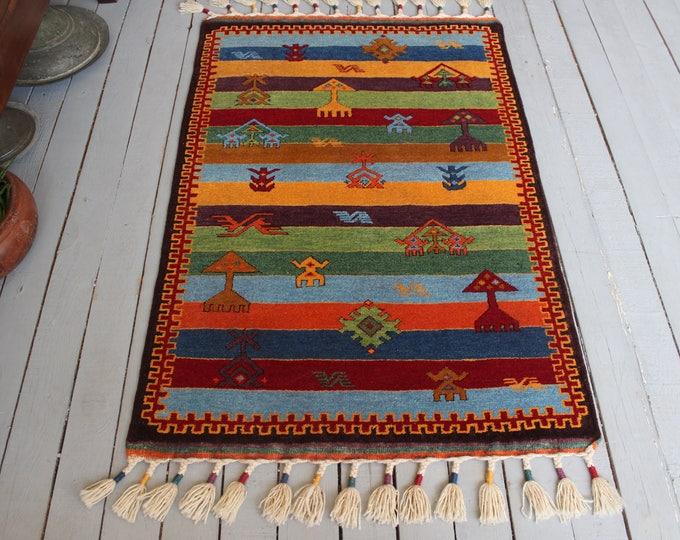 Bohemian Design Handwoven Wool Rug,Nursery Rug, Kids room rug, Floor Rug