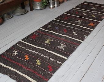 """2'6""""x9'2"""" Bohemian RUNNER, Ethnic Handwoven Wool Kilim Runner Rug,Hallway Runner"""