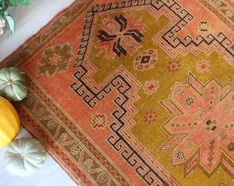 """5'x7'6"""" ft Vintage Rug, Vintage Turkish Rug, Ethnic  Rug,  Coloured Wool  Rug, Vintage Kars Rug, Special Wool Rug / B-1274 /"""