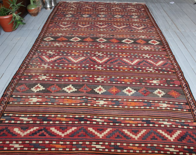 Vintage Red Area Kilim, Handwoven Wool Kilim Rug,Bohemian Ethnic Large Kilim Rug Carpet