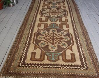 Vintage KARS  RUNNER, Turkish Brown-Beige- Blue  Bohemian Handwoven Wool Rug Runner