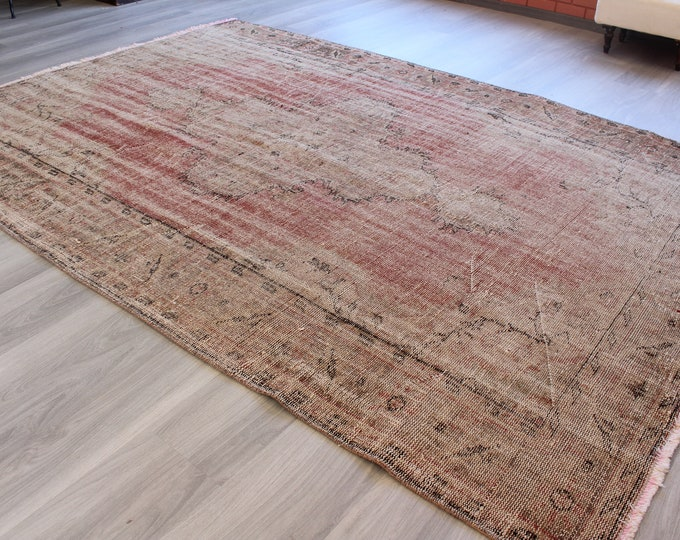"Vintage Rug, Large Oushak Rug, Large Turkish Rug, Distressed Area Rug, Handwoven Wool Rug , Large Vintage Rug, Bohemian Rug ,6'X8'8""/ B-1236"