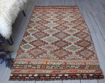"3'3""x5'8"" ft   Vintage Kilim Rug, Ethnic Kilim, Bohemian Kilim, Anatolian Kilim"
